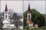 Kostel v zimě a v létě