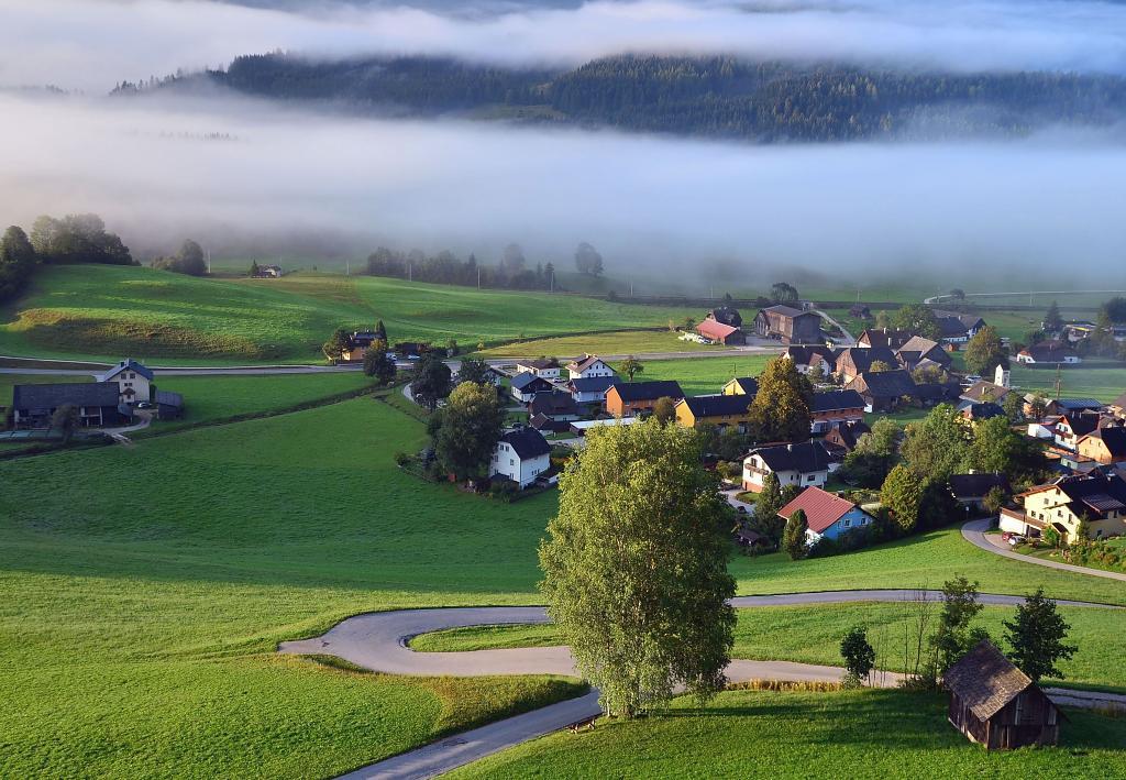 Ráno v rakouské obci Tauplitz