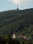 Kostel sv Mikuláše a Ještěd