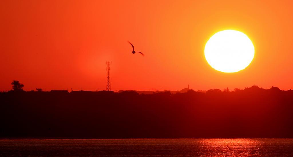 Východ slunce nad Pálavou.