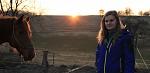 Západ slunce, koník a Lenča