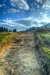 Cesta je štěrk a prach a udusaná hlína